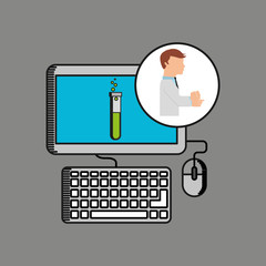 scientist worker research computer test tube vector illustration eps 10