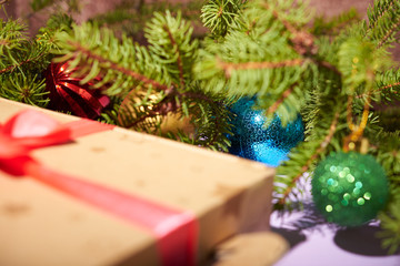 Christmas tree and Christmas toys as backgrounds