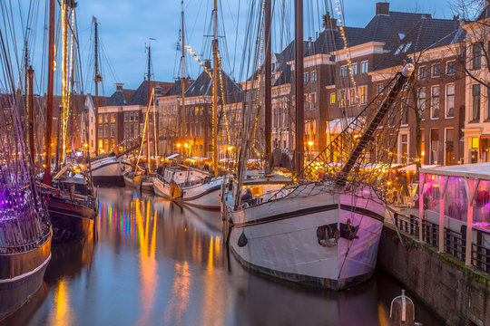 Historic sailing ships at the Hoge der Aa quay