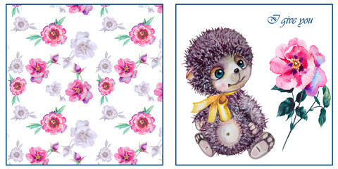 Cute hedgehog. Valentines day card. Valentines day card. Watercolor hedgehog,flowers rose illustration. Greeting card for Valentine day. Love you.