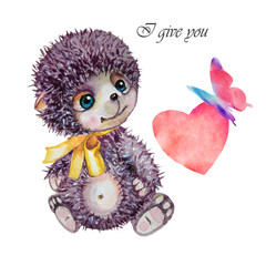 Cute hedgehog. Valentines day card. Valentines day card. Watercolor hedgehog, butterfly illustration. Greeting card for Valentine day. Love you.