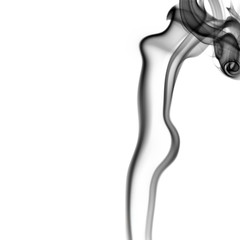 smoke abstract shaped like a woman naked body isolated on a whit