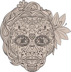 Female Sugar Skull Calavera Retro