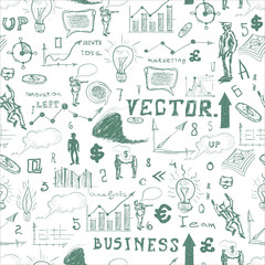 Vector business doodles - seamless pattern with blue element