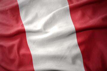 waving colorful flag of peru.