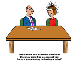 Color business cartoon of a HR recruiter asking illegal questions about having a baby to a job candidate.