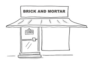 Black and white illustration of how a brick and mortar store has closed due to the influx of e-commerce.