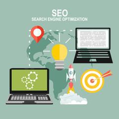 infographics background seo optimization concept. Set icons