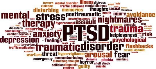 PTSD word cloud concept. Vector illustration