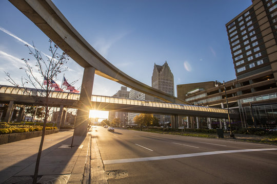 People Mover and Skywalk in Detroit