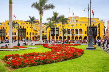 Plaza Mayor in Historic Center of Lima, Peru