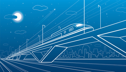 Train on the bridge, dynamic composition, industrial and transport illustration, white lines landscape on blue background, night city, vector design art