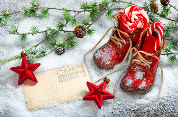 Christmas decoration red stars antique baby shoes postcard