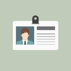 ID card, Identification card icon, flat style - Vector