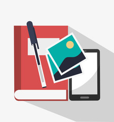 Book and smartphone icon. Digital marketing media ecommerce seo and business theme. Isolated design. Vector illustration
