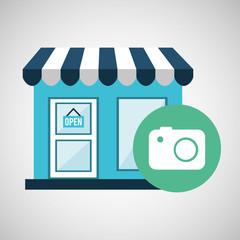e-commerce store building camera photographic design vector illustration eps 10