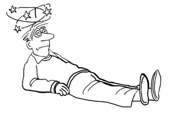 Black and white illustration of a man that has fallen and is feeling dizzy.