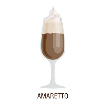 Coffee cups different cafe drinks amaretto