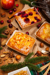 Christmas Holiday Fruit Apricot, Apple and Cranberry Cakes. Selective focus.
