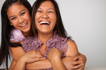 Asian mother and daughter.