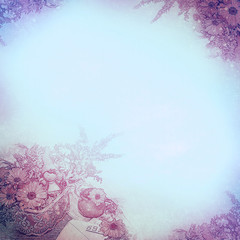 Vintage background with flower corners and composition, the Mari