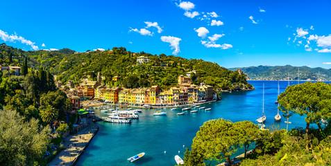 Portofino luxury village landmark, panoramic aerial view. Italy