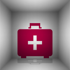 Medical First aid box sign. Bordo icon with shadow in the room.
