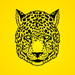 Cheetah head outline stroke graphic vector.