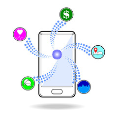 Smart phone touchscreen application and mobile connection vector illustration