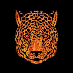 Cheetah head designed using yellow grunge brush graphic vector.