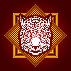Cheetah head designed on line square background graphic vector.