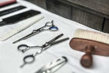 Hairdresser accessories in barbershop