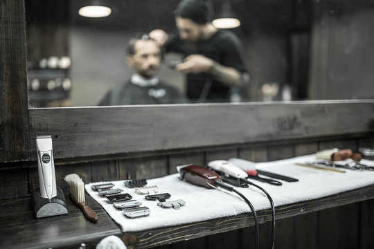 Accessories of hairdresser in barbershop