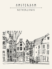 Amsterdam, Holland, Netherlands Europe. Old center, a boat. Dutch traditional historical buildings. Typical Dutch houses. Hand drawing. Travel sketch. Book illustration, postcard or poster