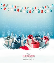 Holiday Christmas background with a gift boxes and a garland. Ve