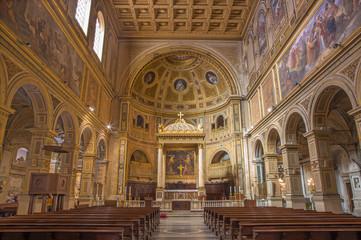 ROME, ITALY - MARCH 12, 2016: The nave of church Basilica di San Lorenzo in Damaso with the main altar by Gian Lorenzo Bernini.