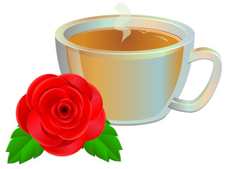 Rose tea on transparent glass cup vector image