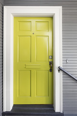Lime Green Front Door framed in white wood. New Entry door green