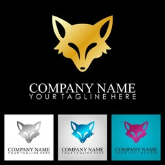 metal fox head vector logo