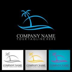 palm tree ocean beach logo