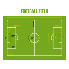 Football Soccer Field Court Color Illustration - Size and Dimension
