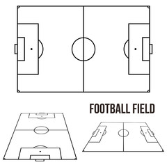 Football Soccer Field Court Vector Illustration - Different Pointview