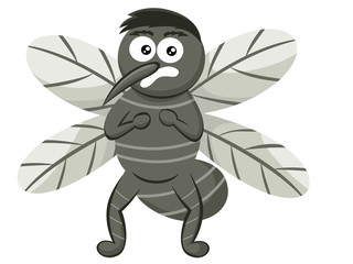 Scared Mosquito Cartoon Illustration Isolated on White