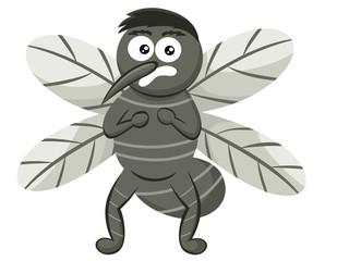 Scared Mosquito Cartoon Illustration Isolated on White
