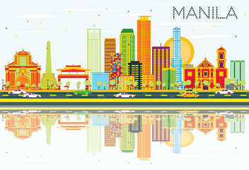 Manila Skyline with Color Buildings, Blue Sky and Reflections.