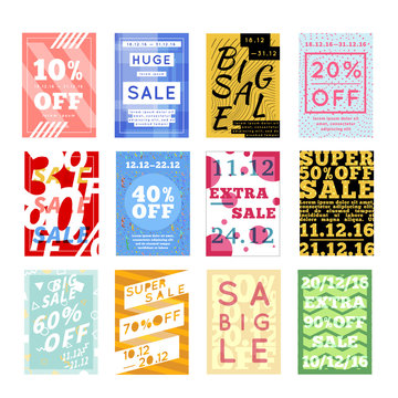 Large set of bright colorful sale flyers with different discount offers on white