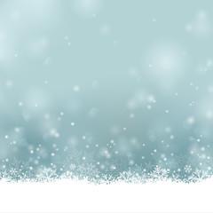 Frohe Weihnachten - Winter Hintergrund mit Schnee und Eiskristallen