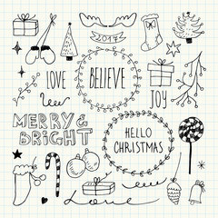 Christmas and New Year doodles collection