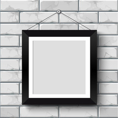 blank photo frame on the wall.vector illustration