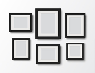 blank photo frame set on the wall.vector illustration